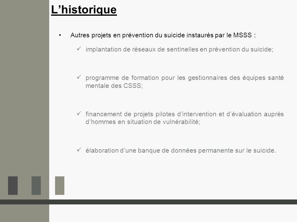 Autres projets en prévention du suicide instaurés par le MSSS : implantation de réseaux de sentinelles en prévention du suicide; programme de formatio