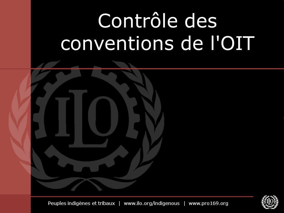 Peuples indigènes et tribaux | www.ilo.org/indigenous | www.pro169.org Le système de contrôle de l OIT Dispositifs systématiques d examen de l application des conventions de l OIT ayant été ratifiées Dialogue permanent entre les gouvernements et l OIT La coopération technique peut intervenir en complément
