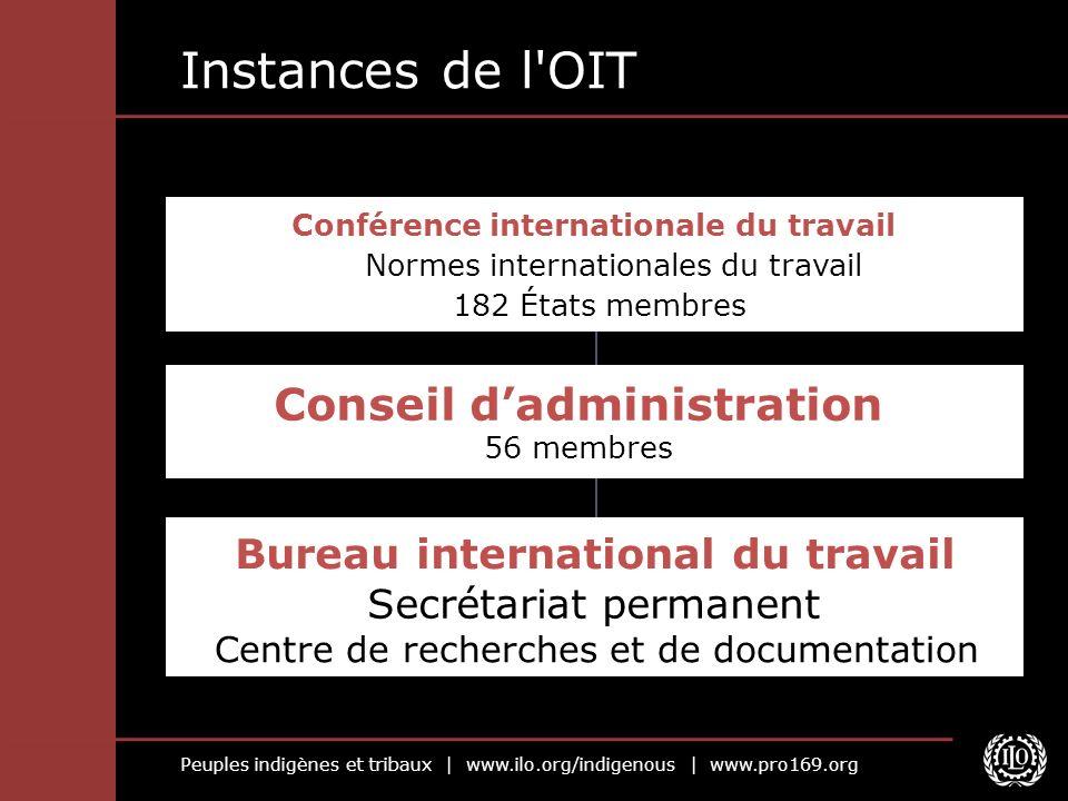 Peuples indigènes et tribaux | www.ilo.org/indigenous | www.pro169.org Instances de l'OIT Bureau international du travail Secrétariat permanent Centre