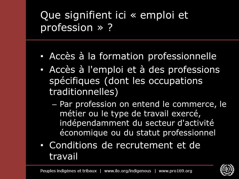 Peuples indigènes et tribaux | www.ilo.org/indigenous | www.pro169.org Que signifient ici « emploi et profession » ? Accès à la formation professionne