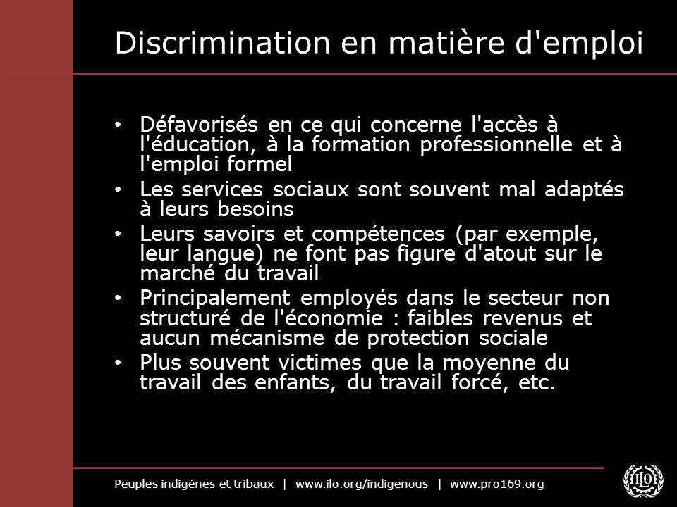 Peuples indigènes et tribaux | www.ilo.org/indigenous | www.pro169.org Discrimination en matière d'emploi Défavorisés en ce qui concerne l'accès à l'é