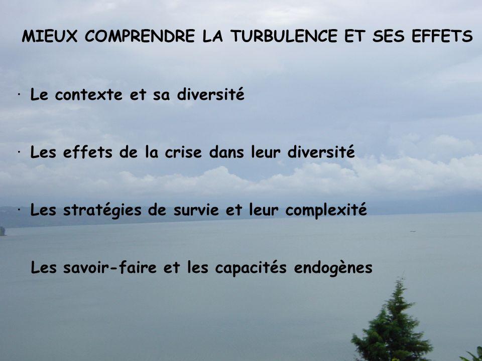 MIEUX COMPRENDRE LA TURBULENCE ET SES EFFETS · Le contexte et sa diversité · Les effets de la crise dans leur diversité · Les stratégies de survie et leur complexité Les savoir-faire et les capacités endogènes