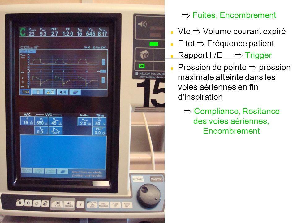 Vte Volume courant expiré F tot Fréquence patient Rapport I /E Pression de pointe pression maximale atteinte dans les voies aériennes en fin dinspirat