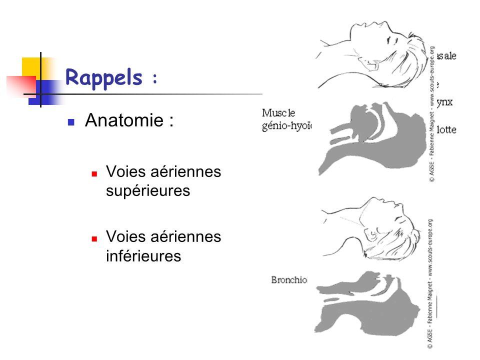 Rappels : Physiologie : Ventilation physiologique En pression négative Espace mort physiologique Assurer lhématose Apport de gazs humidifiés / réchauffés