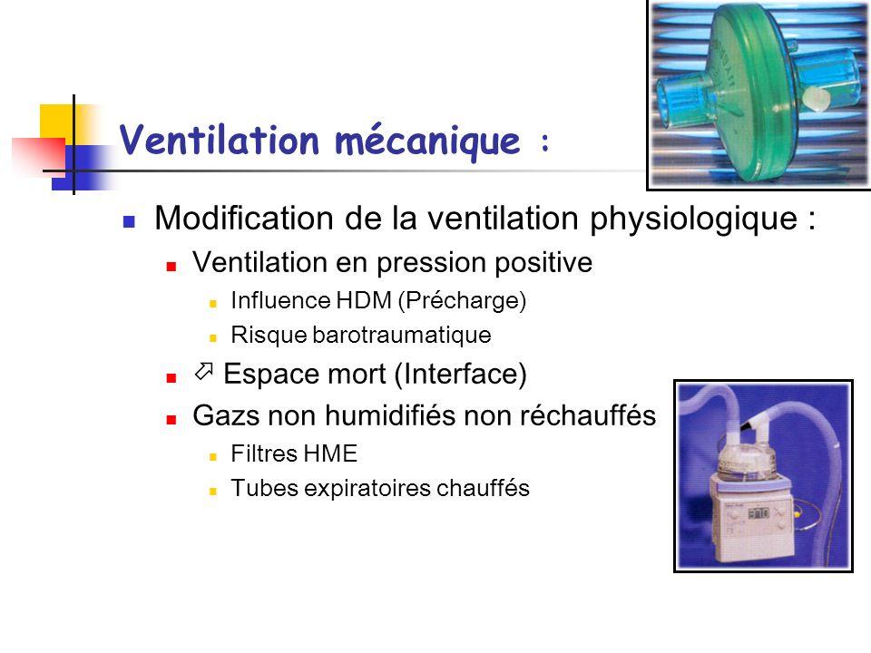 AIR AMBIANT ~22° C ~10 mg/L ~50% HR 37°C, 44 mgH 2 O /l, 100%HR Ventilation spontanée GAZ SECS TURBINE ~ 22° C ~ 22° C ~0 mg/L ~0 à 10 mg/L ~0% HR ~0 à 50% HR HUMIDIFICATION DES GAZ IMPERATIVE Ventilation invasive HUMIDIFICATION DES GAZ .