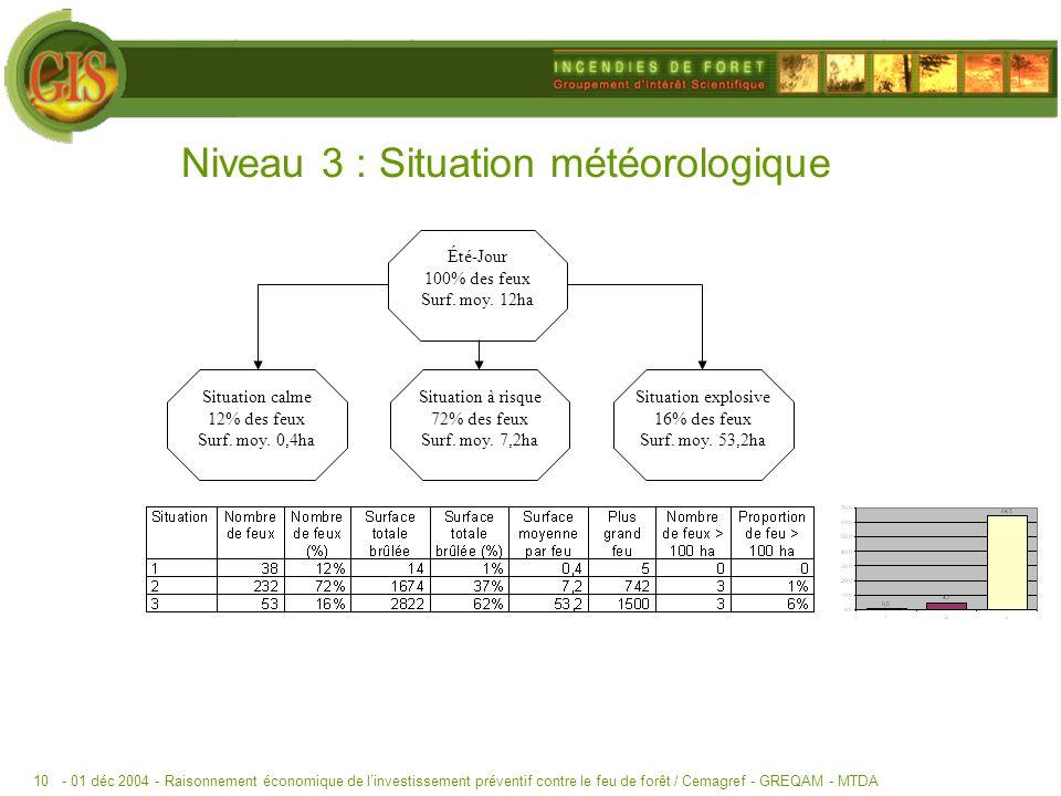 - 01 déc 2004 -Raisonnement économique de linvestissement préventif contre le feu de forêt / Cemagref - GREQAM - MTDA10 Niveau 3 : Situation météorologique Été-Jour 100% des feux Surf.