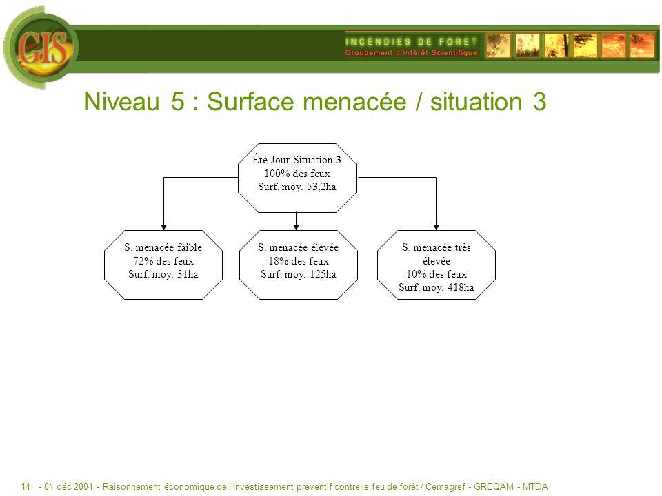 - 01 déc 2004 -Raisonnement économique de linvestissement préventif contre le feu de forêt / Cemagref - GREQAM - MTDA14 Niveau 5 : Surface menacée / situation 3 Été-Jour-Situation 3 100% des feux Surf.