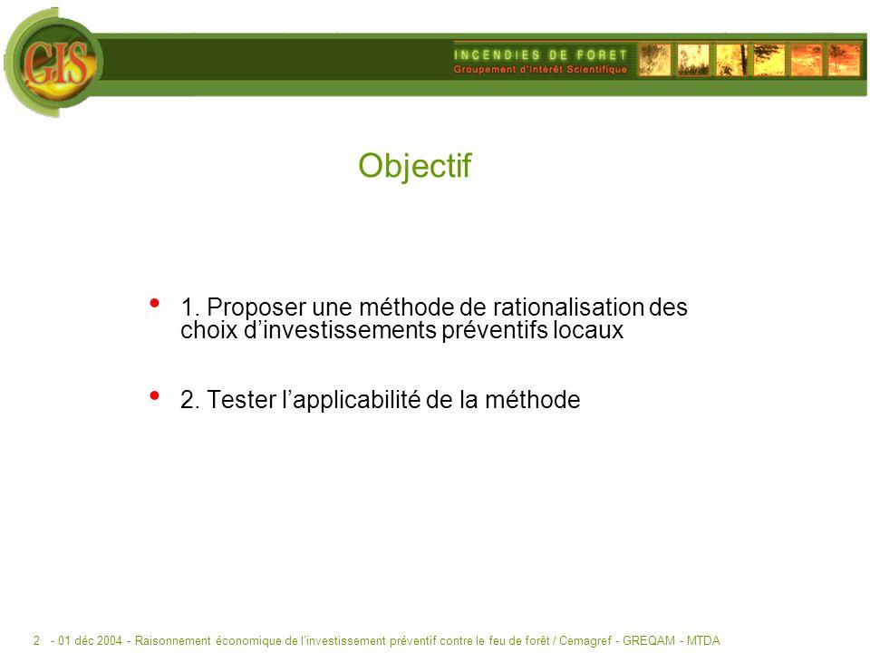 - 01 déc 2004 -Raisonnement économique de linvestissement préventif contre le feu de forêt / Cemagref - GREQAM - MTDA2 Objectif 1.