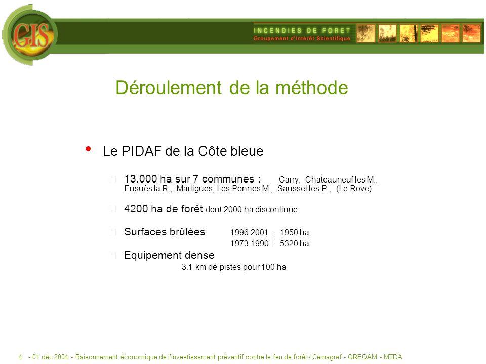 - 01 déc 2004 -Raisonnement économique de linvestissement préventif contre le feu de forêt / Cemagref - GREQAM - MTDA4 Le PIDAF de la Côte bleue 13.000 ha sur 7 communes : Carry, Chateauneuf les M., Ensuès la R., Martigues, Les Pennes M., Sausset les P., (Le Rove) 4200 ha de forêt dont 2000 ha discontinue Surfaces brûlées 1996 2001 : 1950 ha 1973 1990 : 5320 ha Equipement dense 3.1 km de pistes pour 100 ha Déroulement de la méthode