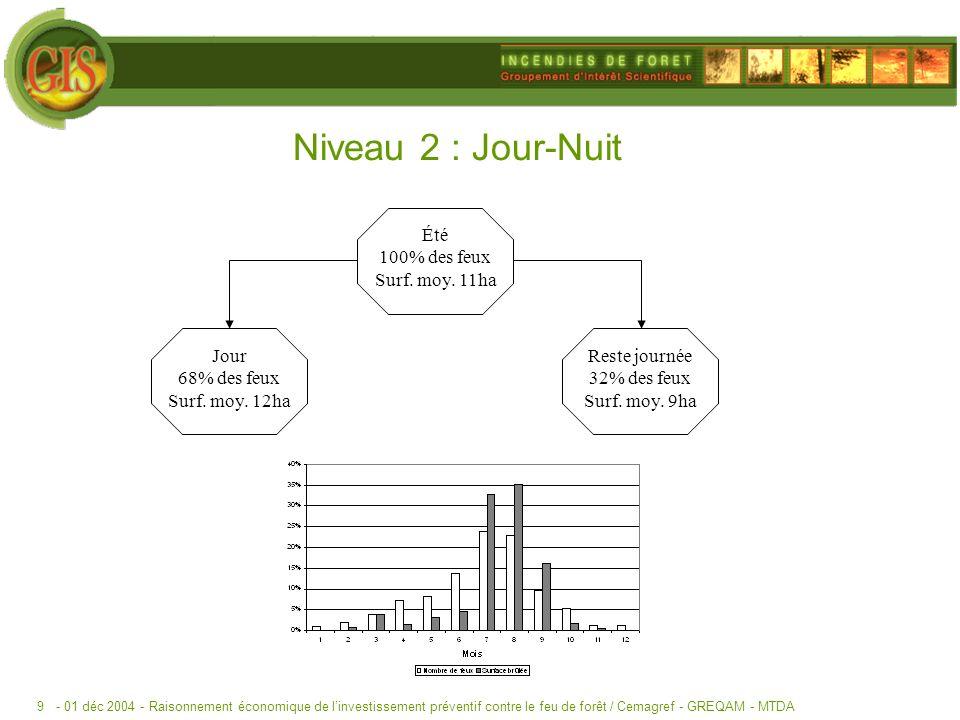 - 01 déc 2004 -Raisonnement économique de linvestissement préventif contre le feu de forêt / Cemagref - GREQAM - MTDA9 Niveau 2 : Jour-Nuit Été 100% des feux Surf.