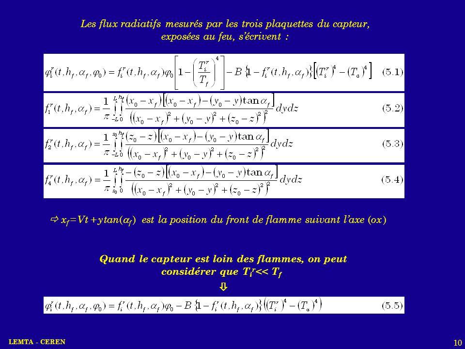 LEMTA - CEREN 10 Les flux radiatifs mesurés par les trois plaquettes du capteur, exposées au feu, sécrivent : x f = V t + y tan ( f ) est la position