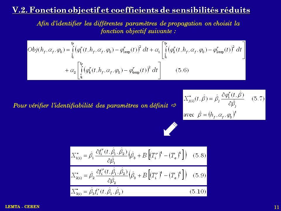 LEMTA - CEREN 11 V.2. Fonction objectif et coefficients de sensibilités réduits Afin didentifier les différentes paramètres de propagation on choisit