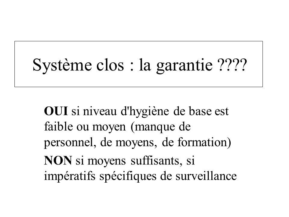 Système clos : la garantie ???? OUI si niveau d'hygiène de base est faible ou moyen (manque de personnel, de moyens, de formation) NON si moyens suffi