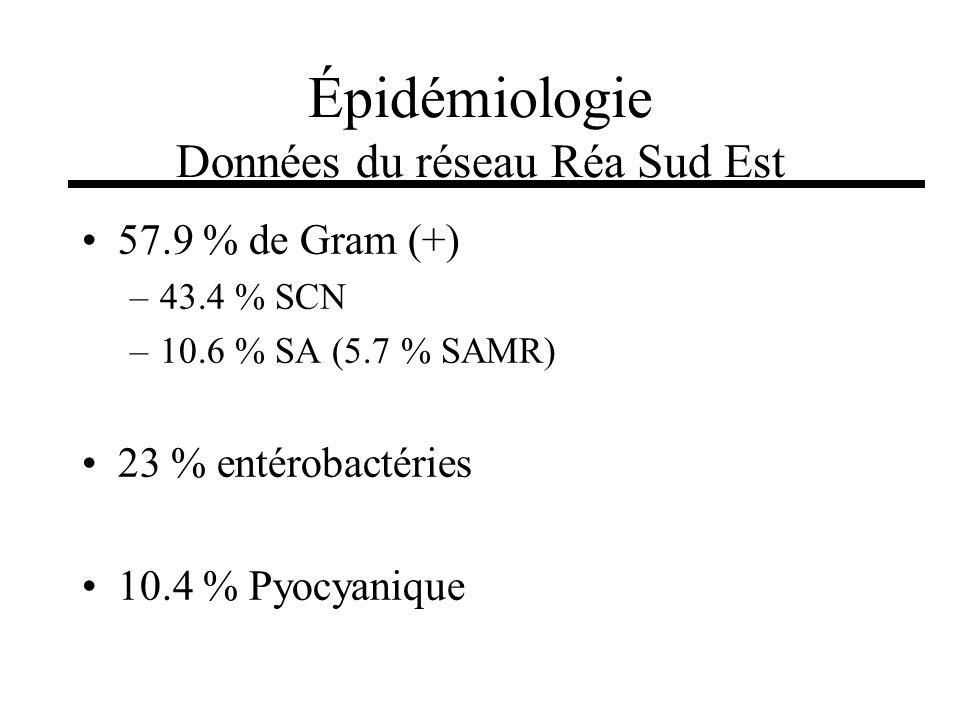 57.9 % de Gram (+) –43.4 % SCN –10.6 % SA (5.7 % SAMR) 23 % entérobactéries 10.4 % Pyocyanique Épidémiologie Données du réseau Réa Sud Est