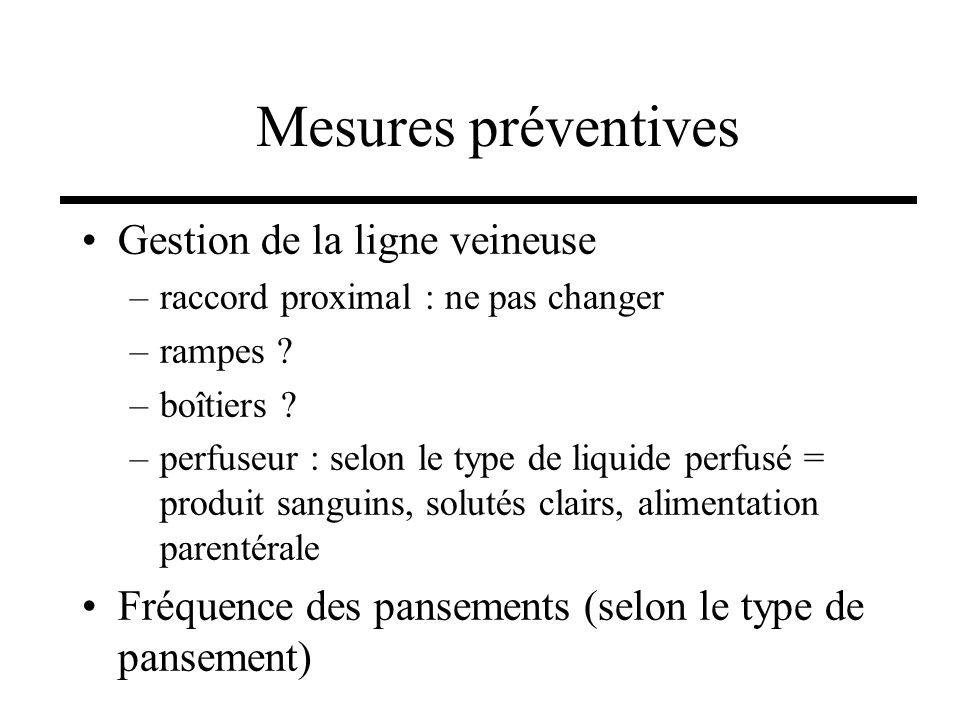Gestion de la ligne veineuse –raccord proximal : ne pas changer –rampes ? –boîtiers ? –perfuseur : selon le type de liquide perfusé = produit sanguins
