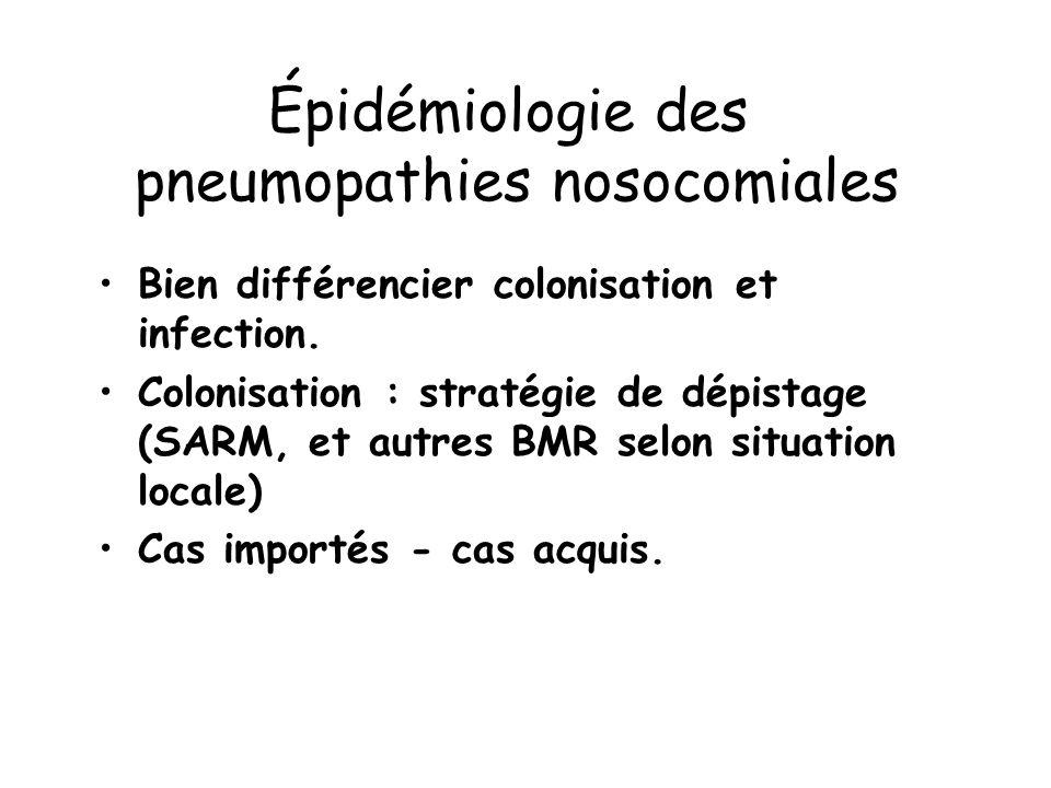 Épidémiologie des pneumopathies nosocomiales Bien différencier colonisation et infection. Colonisation : stratégie de dépistage (SARM, et autres BMR s