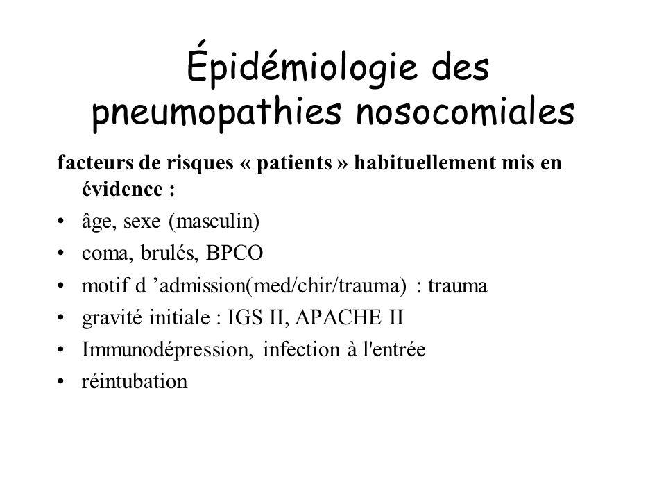 Épidémiologie des pneumopathies nosocomiales facteurs de risques « patients » habituellement mis en évidence : âge, sexe (masculin) coma, brulés, BPCO
