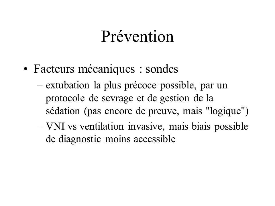 Prévention Facteurs mécaniques : sondes –extubation la plus précoce possible, par un protocole de sevrage et de gestion de la sédation (pas encore de