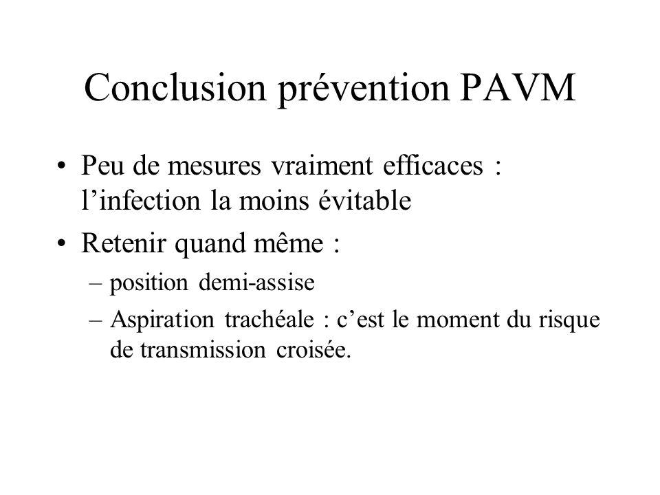 Conclusion prévention PAVM Peu de mesures vraiment efficaces : linfection la moins évitable Retenir quand même : –position demi-assise –Aspiration tra