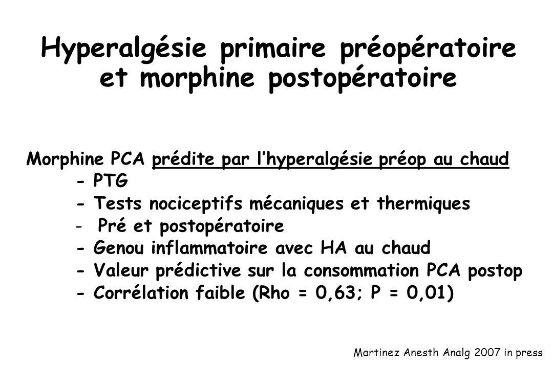 Hyperalgésie primaire préopératoire et morphine postopératoire Morphine PCA prédite par lhyperalgésie préop au chaud - PTG - Tests nociceptifs mécaniq