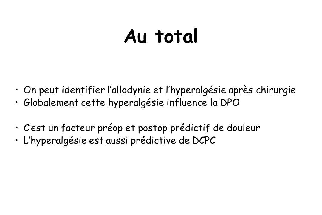 Au total On peut identifier lallodynie et lhyperalgésie après chirurgie Globalement cette hyperalgésie influence la DPO Cest un facteur préop et posto