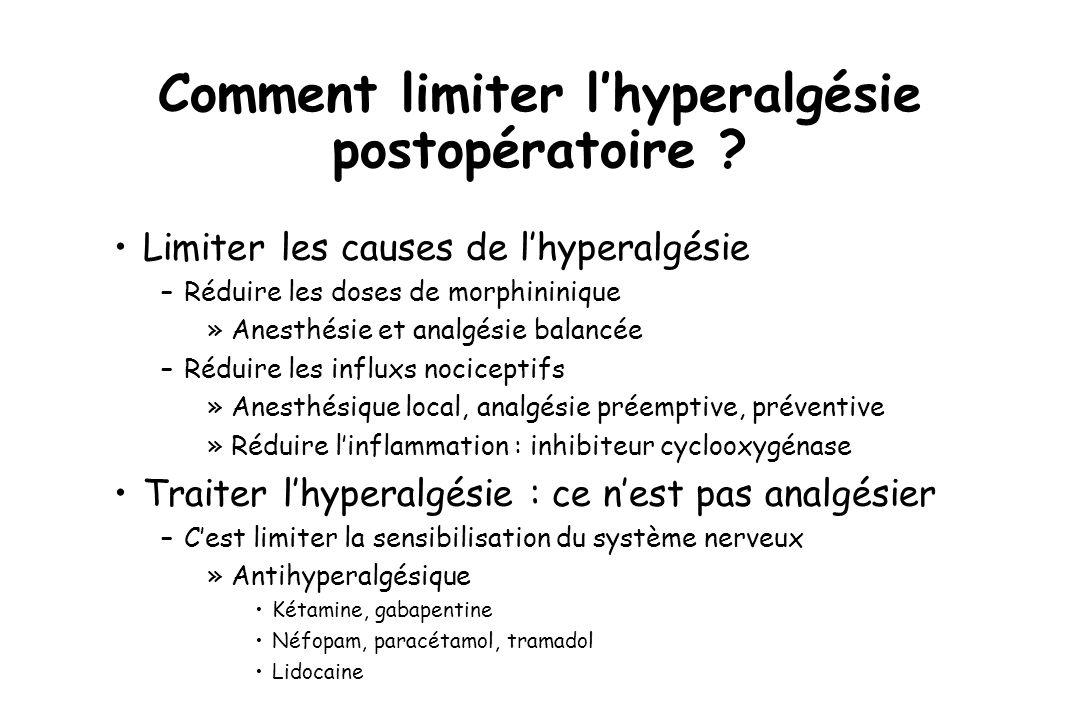Comment limiter lhyperalgésie postopératoire ? Limiter les causes de lhyperalgésie –Réduire les doses de morphininique »Anesthésie et analgésie balanc