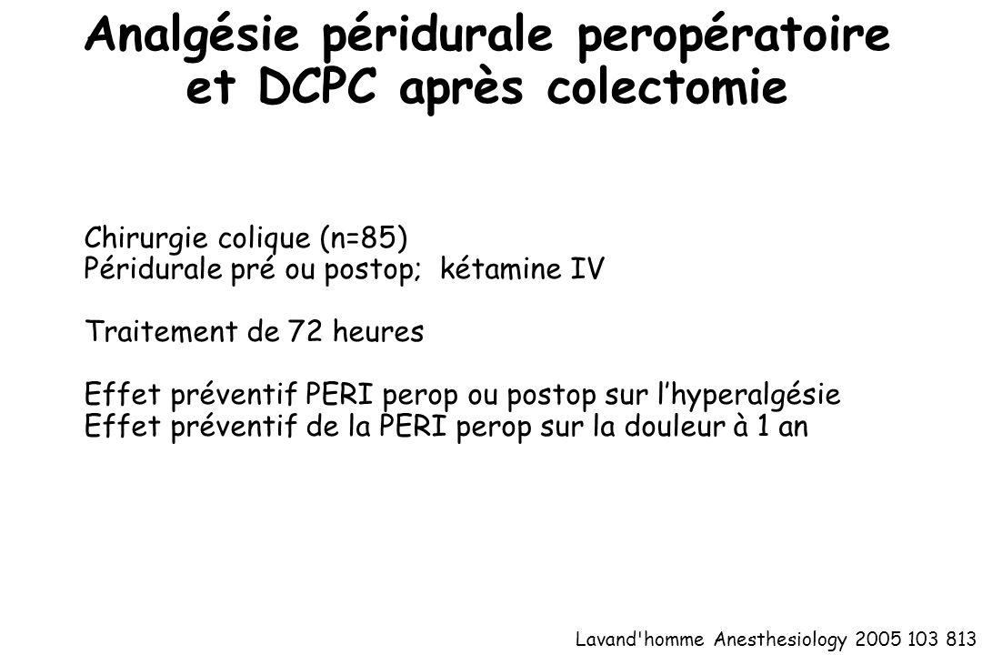 Analgésie péridurale peropératoire et DCPC après colectomie Lavand'homme Anesthesiology 2005 103 813 Chirurgie colique (n=85) Péridurale pré ou postop
