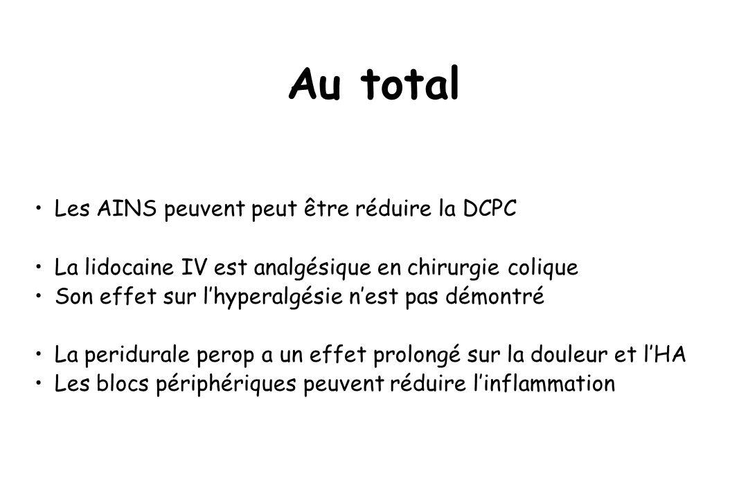 Au total Les AINS peuvent peut être réduire la DCPC La lidocaine IV est analgésique en chirurgie colique Son effet sur lhyperalgésie nest pas démontré