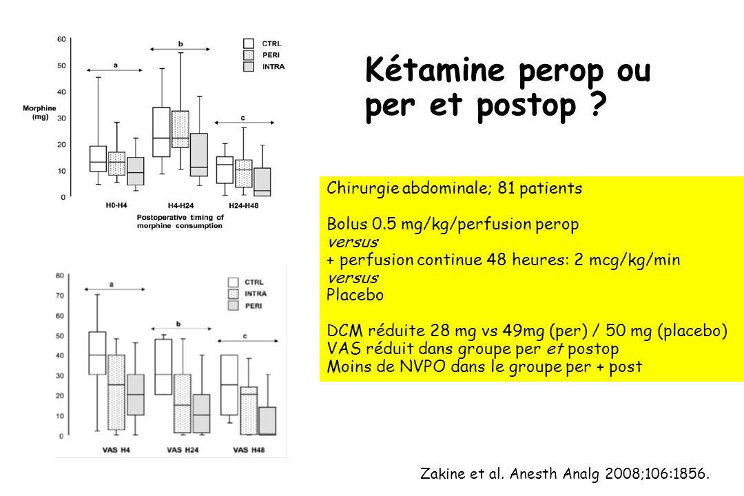 Kétamine perop ou per et postop ? Zakine et al. Anesth Analg 2008;106:1856. Chirurgie abdominale; 81 patients Bolus 0.5 mg/kg/perfusion perop versus +