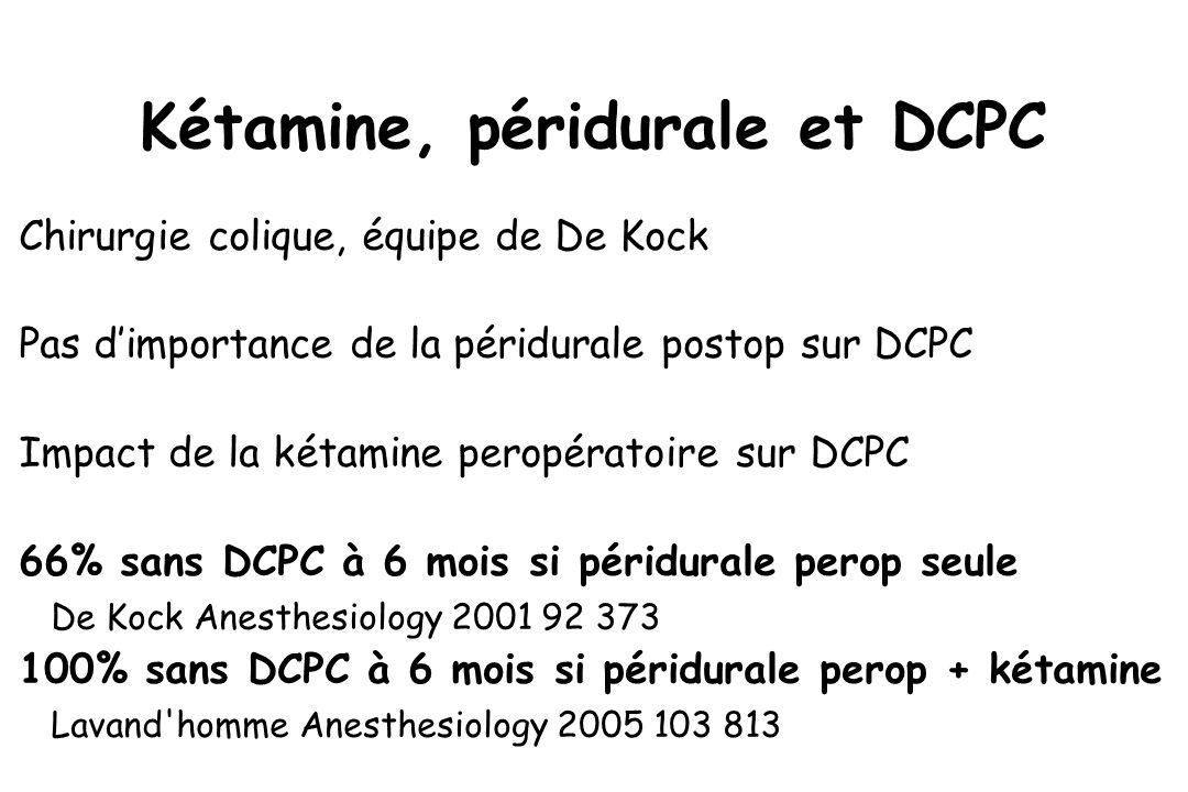 Kétamine, péridurale et DCPC Chirurgie colique, équipe de De Kock Pas dimportance de la péridurale postop sur DCPC Impact de la kétamine peropératoire