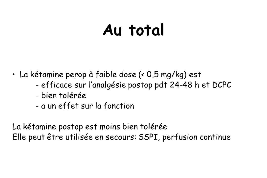 Au total La kétamine perop à faible dose (< 0,5 mg/kg) est - efficace sur lanalgésie postop pdt 24-48 h et DCPC - bien tolérée - a un effet sur la fon