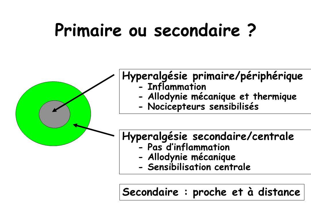 Hyperalgésie secondaire/centrale - Pas dinflammation - Allodynie mécanique - Sensibilisation centrale Primaire ou secondaire ? Hyperalgésie primaire/p
