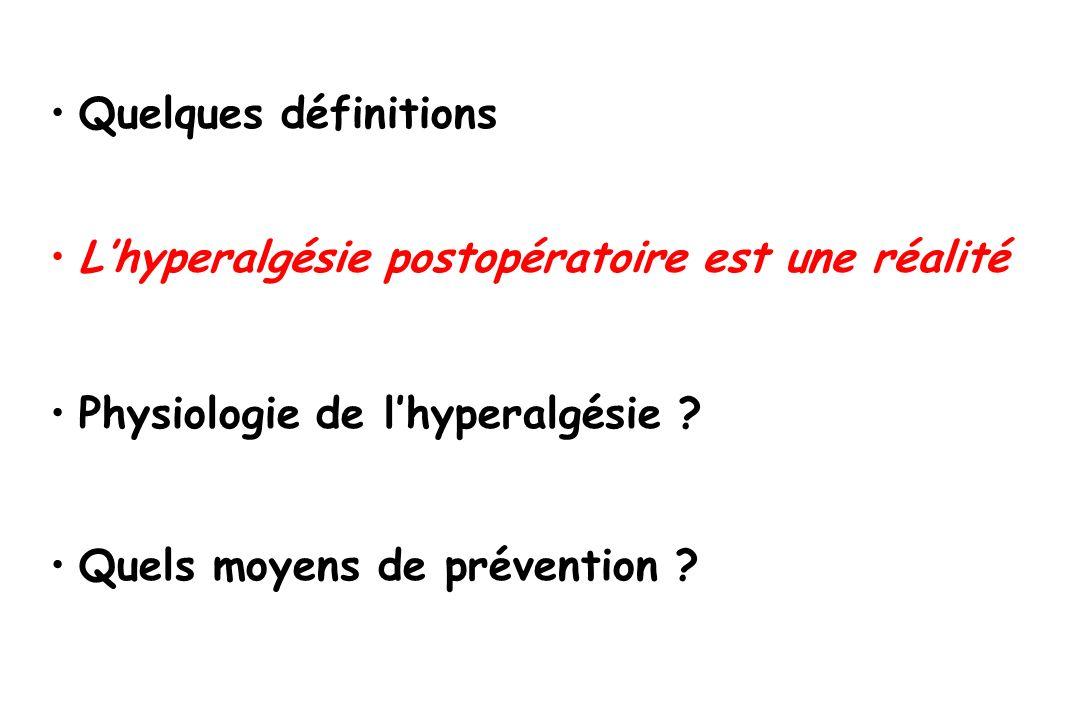 Hyperalgésie morphinique postop KETAMINE Aire sous dhyperalgésie 0 10 20 30 40 morphinique faible morphinique Fort morphinique Fort + K Joly et al.