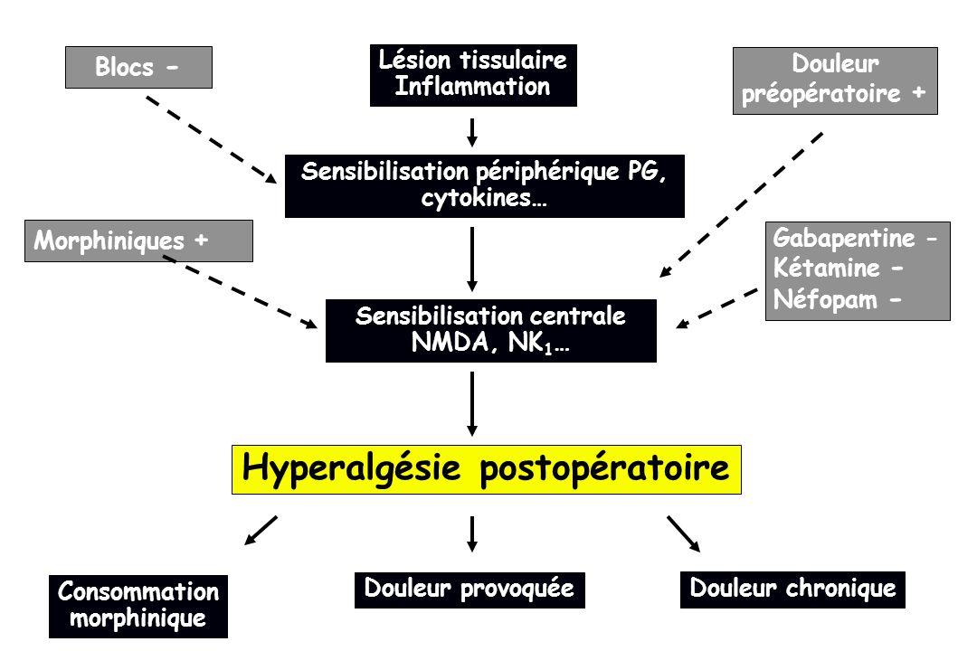Lésion tissulaire Inflammation Sensibilisation périphérique PG, cytokines… Morphiniques + Hyperalgésie postopératoire Sensibilisation centrale NMDA, N