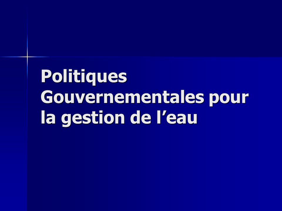 Politiques Gouvernementales pour la gestion de leau