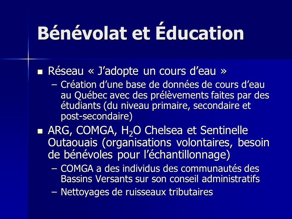 Réseau « Jadopte un cours deau » Réseau « Jadopte un cours deau » –Création dune base de données de cours deau au Québec avec des prélèvements faites par des étudiants (du niveau primaire, secondaire et post-secondaire) ARG, COMGA, H 2 O Chelsea et Sentinelle Outaouais (organisations volontaires, besoin de bénévoles pour léchantillonnage) ARG, COMGA, H 2 O Chelsea et Sentinelle Outaouais (organisations volontaires, besoin de bénévoles pour léchantillonnage) –COMGA a des individus des communautés des Bassins Versants sur son conseil administratifs –Nettoyages de ruisseaux tributaires Bénévolat et Éducation