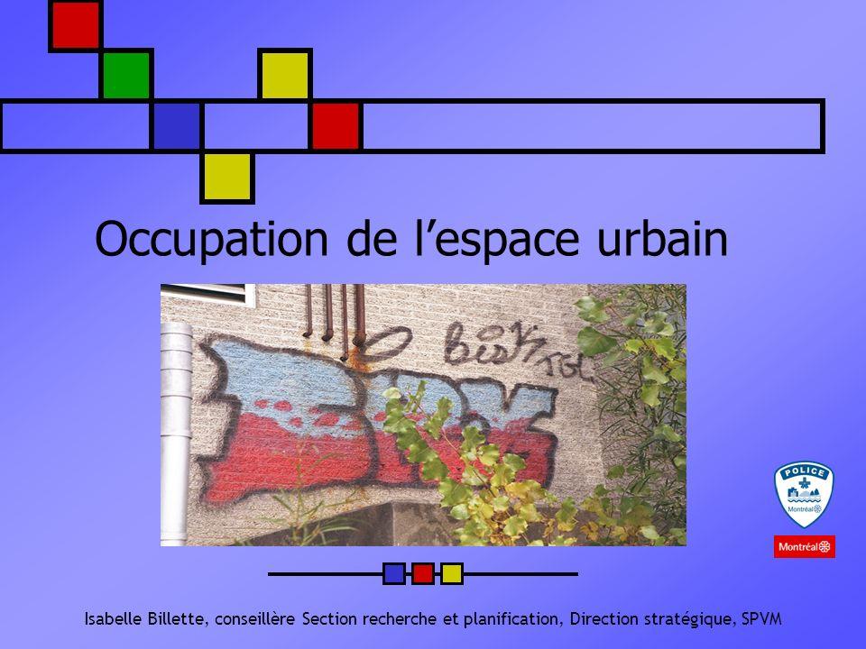 Occupation de lespace urbain Isabelle Billette, conseillère Section recherche et planification, Direction stratégique, SPVM
