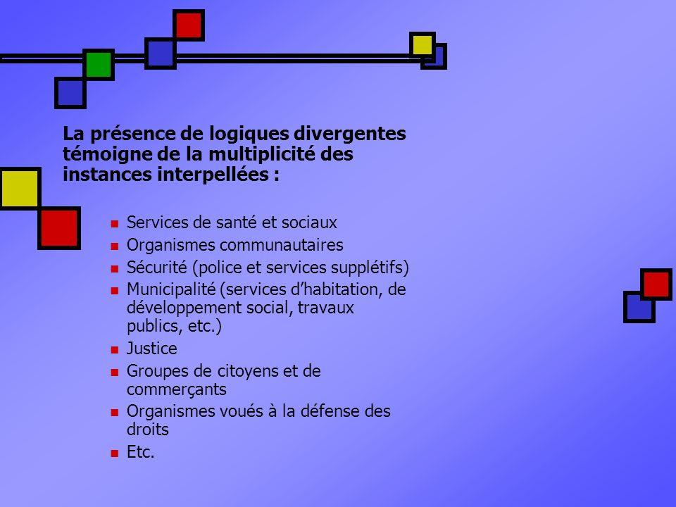 La présence de logiques divergentes témoigne de la multiplicité des instances interpellées : Services de santé et sociaux Organismes communautaires Sé
