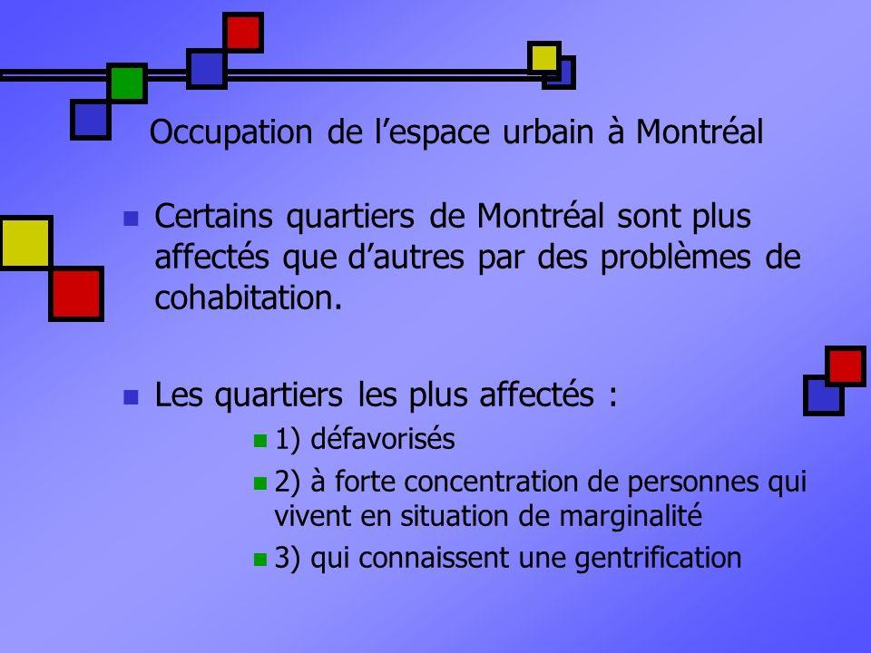 Occupation de lespace urbain à Montréal Certains quartiers de Montréal sont plus affectés que dautres par des problèmes de cohabitation. Les quartiers