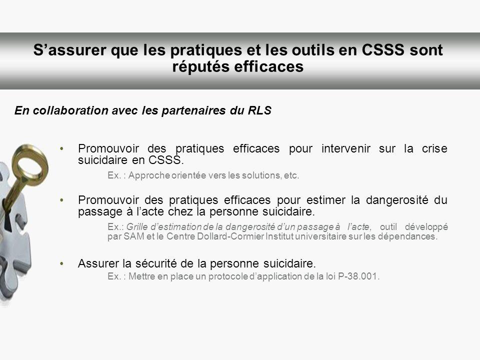 Sassurer que les pratiques et les outils en CSSS sont réputés efficaces Promouvoir des pratiques efficaces pour intervenir sur la crise suicidaire en