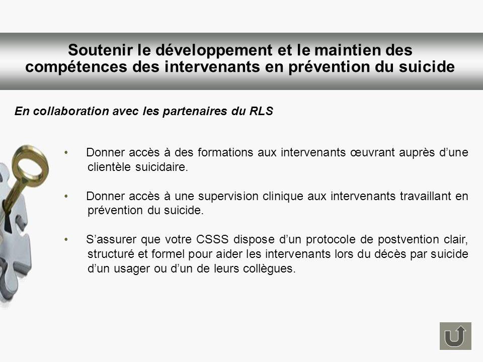 Soutenir le développement et le maintien des compétences des intervenants en prévention du suicide Donner accès à des formations aux intervenants œuvr