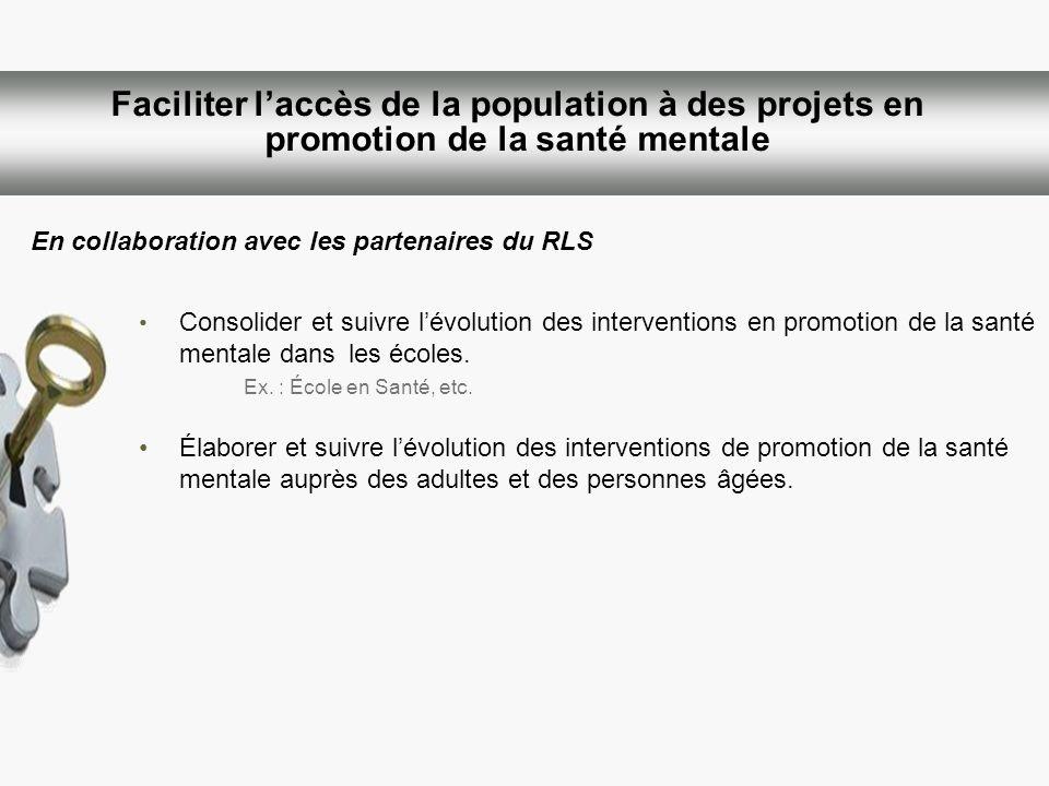 Faciliter laccès de la population à des projets en promotion de la santé mentale Consolider et suivre lévolution des interventions en promotion de la