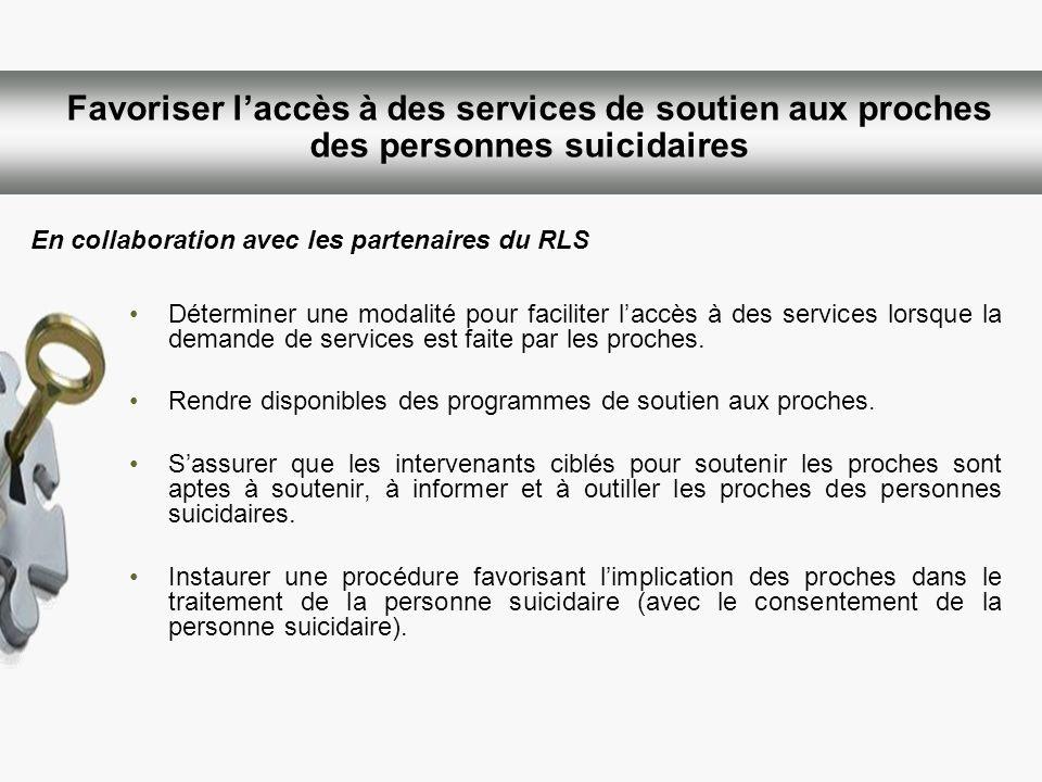 Favoriser laccès à des services de soutien aux proches des personnes suicidaires Déterminer une modalité pour faciliter laccès à des services lorsque