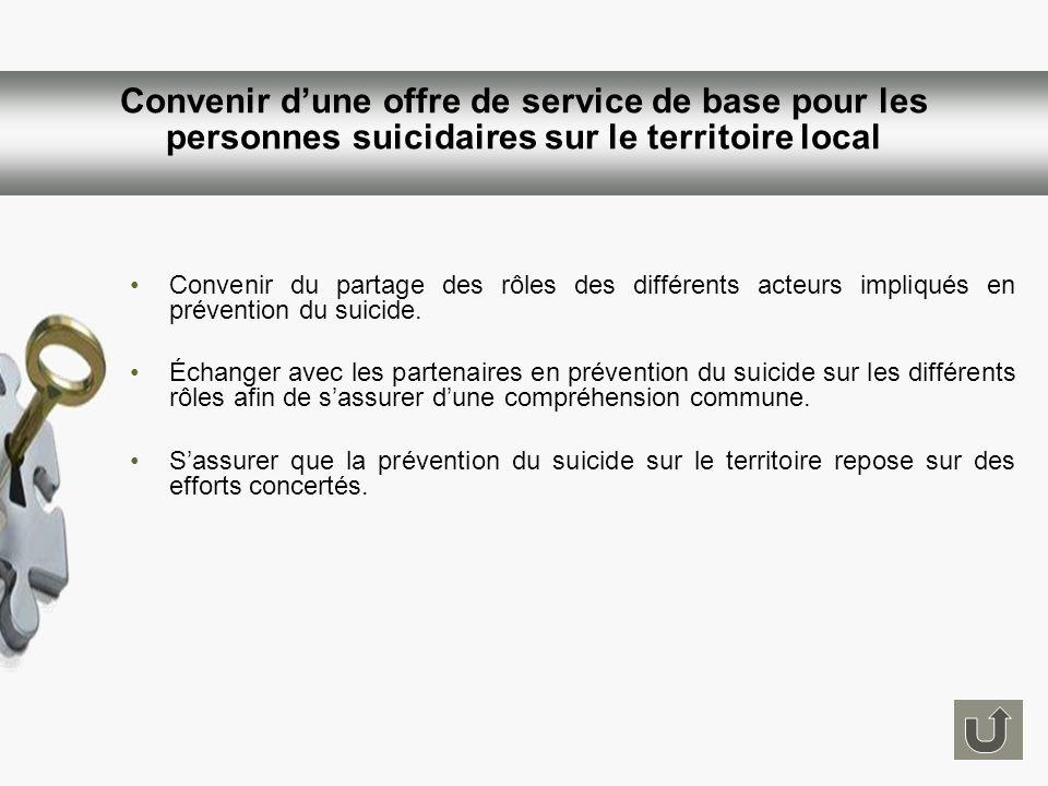 Convenir du partage des rôles des différents acteurs impliqués en prévention du suicide. Échanger avec les partenaires en prévention du suicide sur le