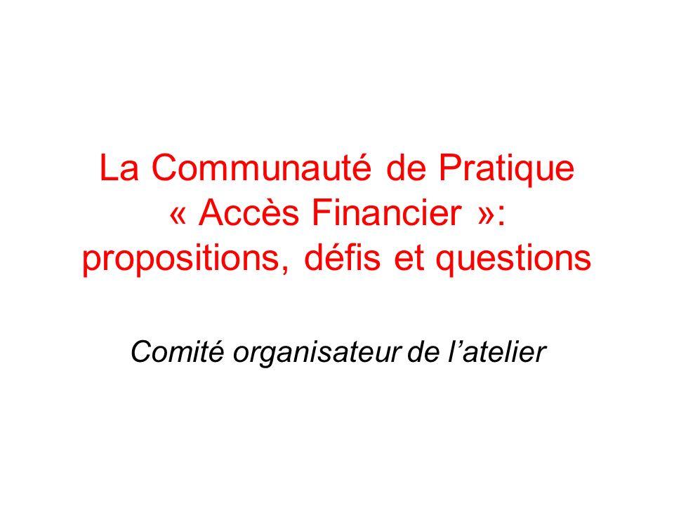 La Communauté de Pratique « Accès Financier »: propositions, défis et questions Comité organisateur de latelier