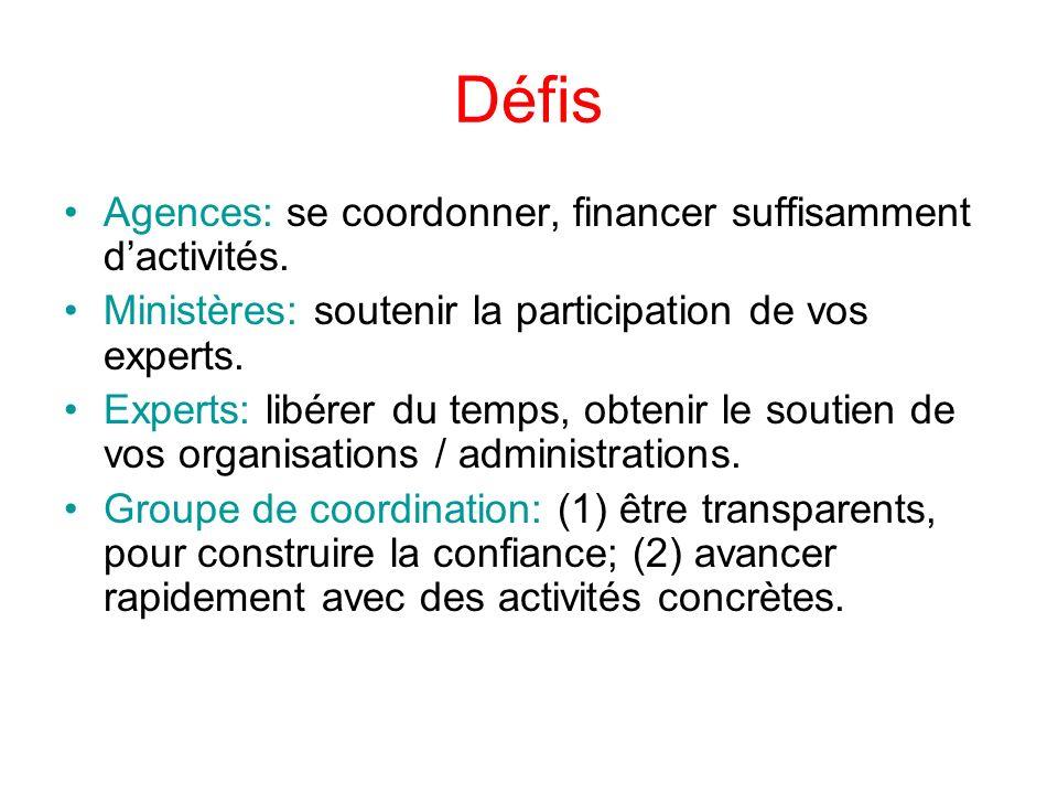 Défis Agences: se coordonner, financer suffisamment dactivités.
