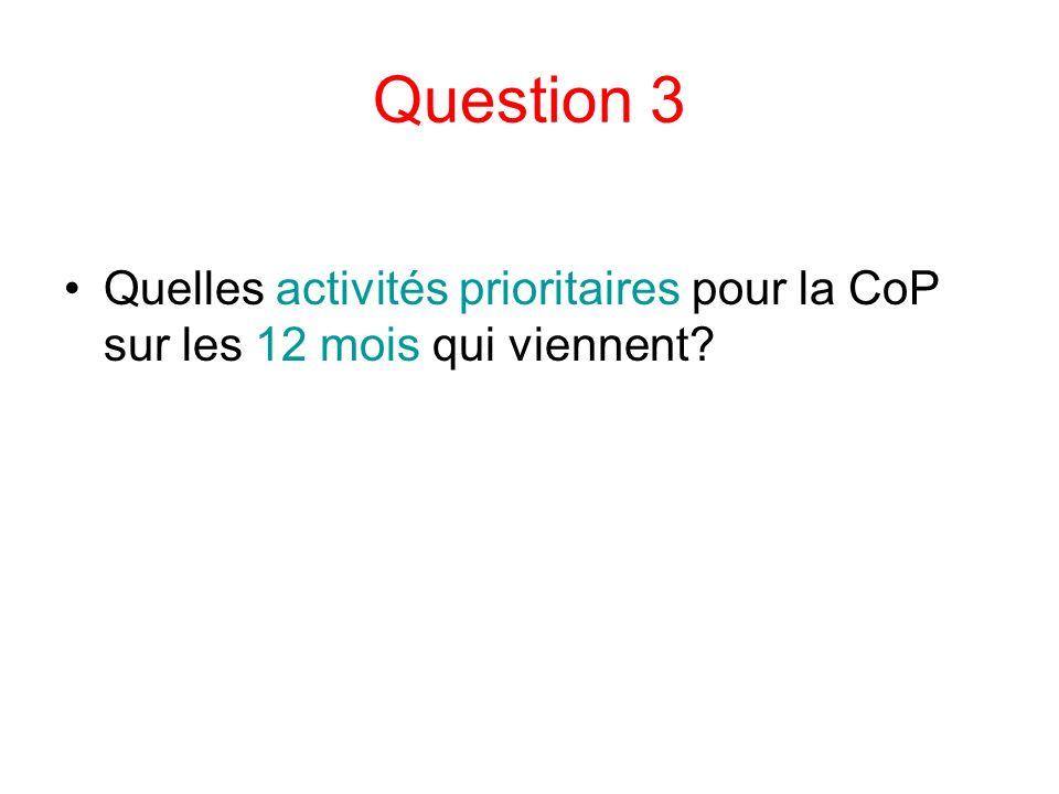 Question 3 Quelles activités prioritaires pour la CoP sur les 12 mois qui viennent?