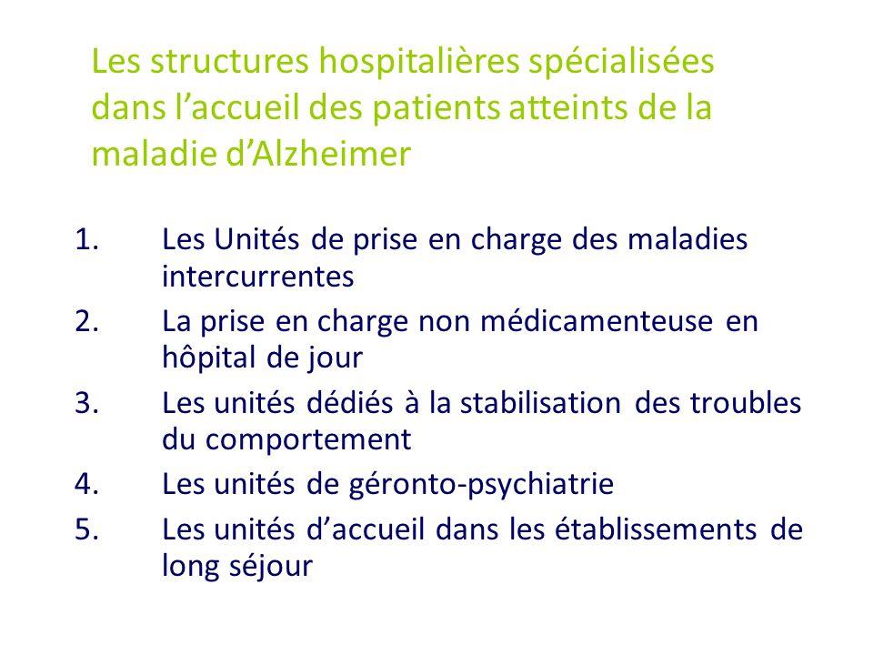 1.Les Unités de prise en charge des maladies intercurrentes 2.La prise en charge non médicamenteuse en hôpital de jour 3.Les unités dédiés à la stabil