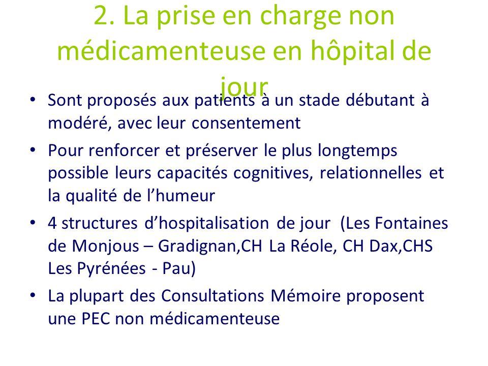 2. La prise en charge non médicamenteuse en hôpital de jour Sont proposés aux patients à un stade débutant à modéré, avec leur consentement Pour renfo