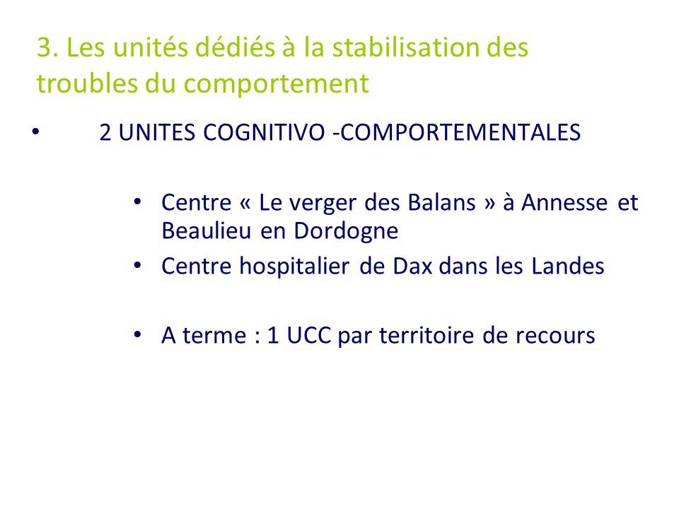 2 UNITES COGNITIVO -COMPORTEMENTALES Centre « Le verger des Balans » à Annesse et Beaulieu en Dordogne Centre hospitalier de Dax dans les Landes A ter